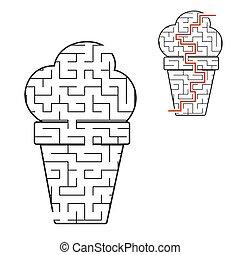 page., kinder, illustration., cream., conundrum., labyrinth, puzzel, aktivität, labyrinth, eis, essen., spiel, answer., schmackhaft, appetitanregend, children., schwarz, worksheets., vektor