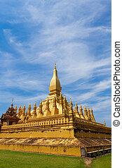 pagode, goldenes, detail, laos