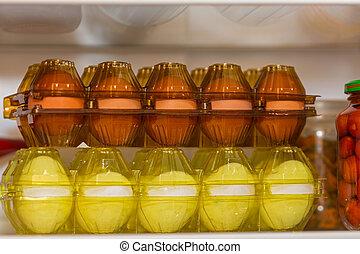 pakete, frisch, zwei, eier
