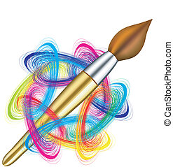 palette, vektor, artist's, bürste