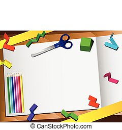 papier, hintergrund., schnitt, 3d, schreibtisch