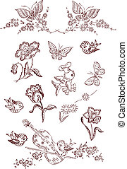 papillon, blume, vogel, elemente