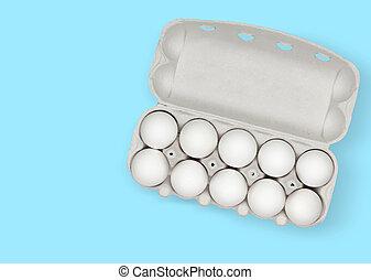 pappe, eier, weißes, ansicht, zehn, kasten, oberseite, huhn