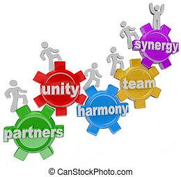 partner, arbeitende , erfolg, zusammen, synergie, gemeinschaftsarbeit