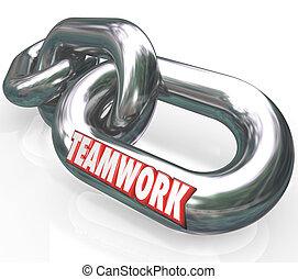 partner, wort, kettenglieder, verbunden, mannschaftteamwork