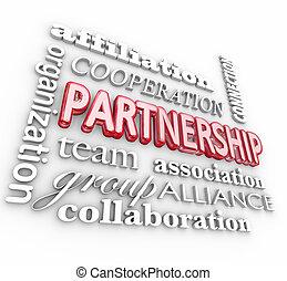 Partnerschaft 3d word collage team association Alliance.