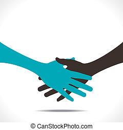 Partnerschaft oder Handschlag.
