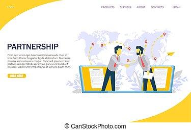 Partnerschafts-Vektor Website Landing Page Design Vorlage