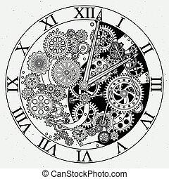 Passt auf. Uhrenmechanismus mit Zahnrädern. Vector Illustrationen