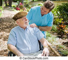 patient, senioren, krankenschwester