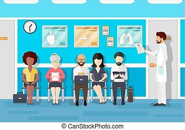 Patienten in Ärzten warten. Vector Illustration