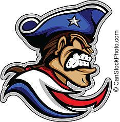 Patriot-Maskottchen mit gemeinem Ausdruck und Hut mit grafischem Vektor illus
