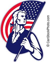 Patriot-Minister mit amerikanischen Sternen und Streifenflagge