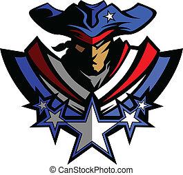 Patrioten-Maskottchen mit Sternen und Hut G