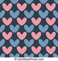 pattern., tag, valentines, herz, vektor, hintergrund., seamless
