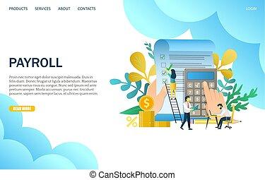 Payroll Vektor Website Landing Page Design Vorlage