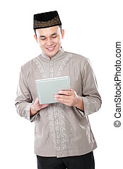pc, moslem, besitz, tablette, mann