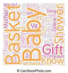 perfekt, dusche, begriff, geschenk, text, körbe, geschenke, wordcloud, hintergrund, baby