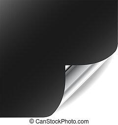 perfekt, hinzufügen, gekräuselt, gallery., text, seite, vektor, ecke, design., mein, shadow., mehr