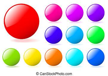 perfekt, hinzufügen, satz, gallery., text, mehrfarbig, bereiche, vektor, icons., mehr, mein, shadow., glänzend