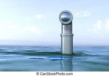 Periskop über dem Wasser.