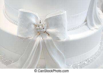 perlen, -, detail, hochzeit kuchen, geschenkband