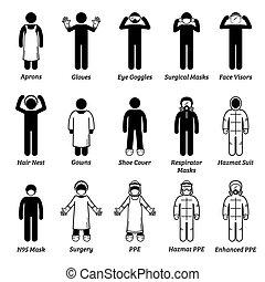 persönliches healthcare, medizin, cliparts., ausrüstung, ppe, schutz, zahnräder