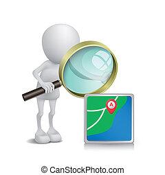 person, aufpassen, glas, navigationsoffizier, vergrößern, 3d