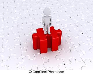 Person, die auf einem hohen Puzzlestück steht