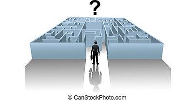 Person im Internet Maze sucht nach einer Geschäftslösung