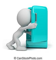 person, kühlschrank, 3d