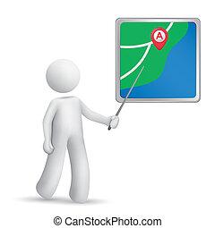 person, navigationsoffizier, stock, zeigen, 3d