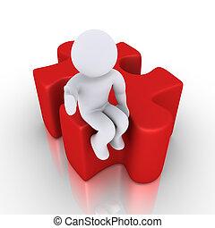 Person sitzt auf einem Puzzlestück