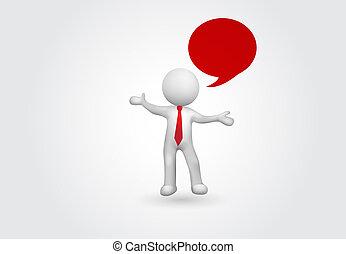 person, vortrag halten , klein, blase, talk, 3d