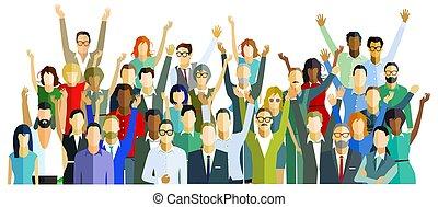 personengruppe, happy.eps