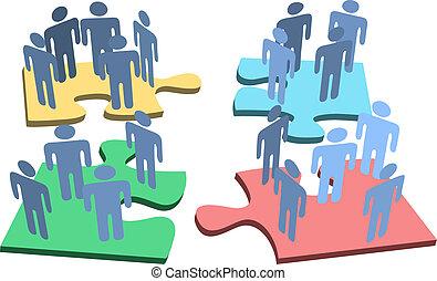 personengruppe, puzzel, loesung, stücke, menschliche , organisation