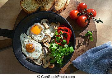 pfanne, braten, gebratene eier