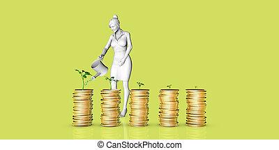 pflanze, wachsen, geld