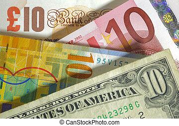 pfund, england, franc, usa, währung, dollar, euro, europa, schweizerisch