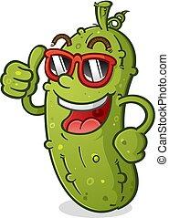 Pickle Cartoon Charakter mit Haltung, die Sonnenbrille trägt.