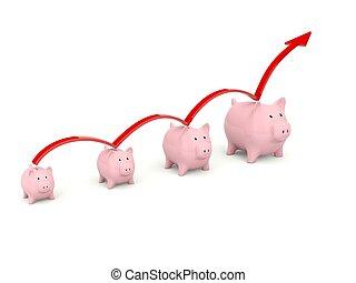 Piggy Bank mit Pfeil isoliert auf weiß