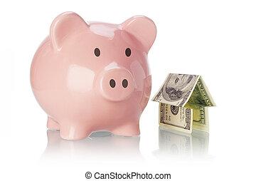 Piggy Bank und Geldhaus