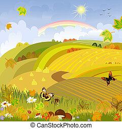 Pilze im Hintergrund der Herbstlandschaft, ländlicher Raum
