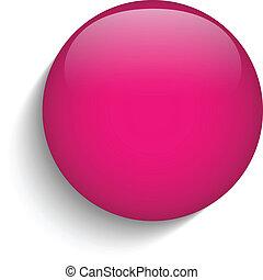 Pink Glaskreis-Taste Ikone.