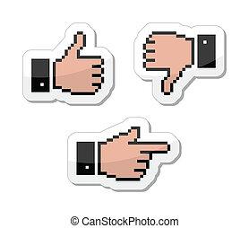Pixel-Cursor-Ikonen - Daumen hoch