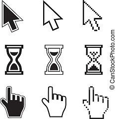 Pixel-Cursors-Ikons-Haar, Stundenglas, Handmaus.