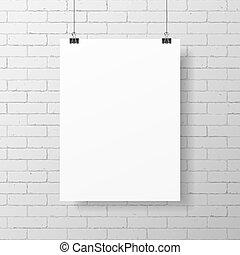 plakat, weißes, leer