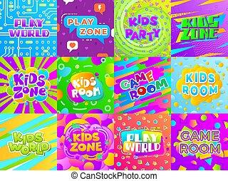 plakate, farbe, etiketten, kind, zimmer, kind, typographie, unterhaltung, spaß, klub, banners., spiel, spielplatz, stickers., vektor, spielen, kinder, bereich, zeichen & schilder