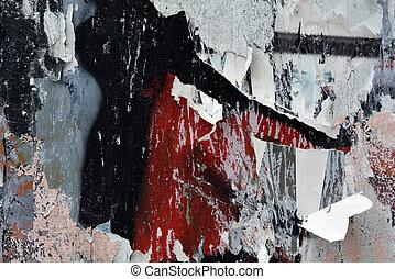 plakate, zerrissene , graffiti, detail, hintergrund