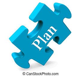 Plan-Puzzle zeigt Ziele der Planung und Organisation